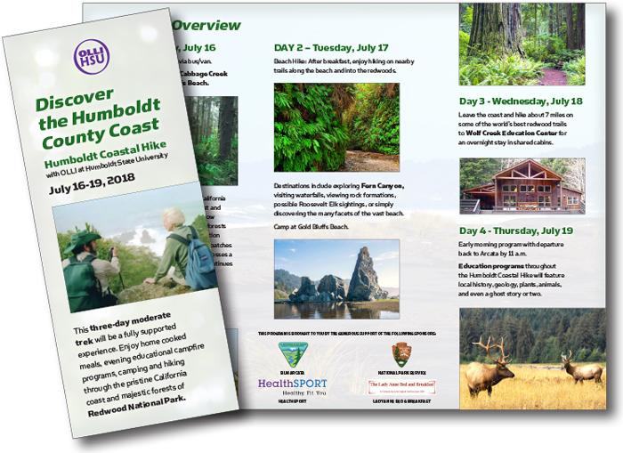 Sample OLLI Coastal Hike brochure with sponsorship examples