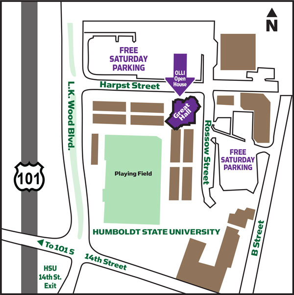 Map to the Great Hall at Humboldt State University