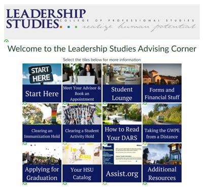Leadership Studies Advising Corner on Canvas