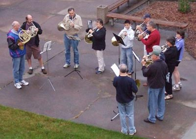 Brass players outside