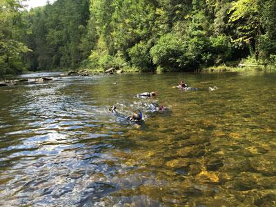People snorkeling in Klamath River