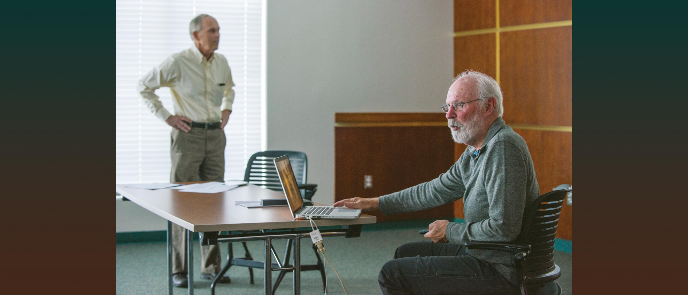 Rick Vrem and Rollie Lamberson in classroom